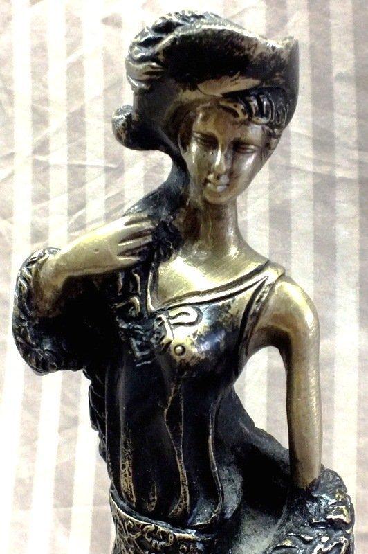 "27: Louis Icart ""VICTORIAN GIRL"" Bronze sculpture on ma"