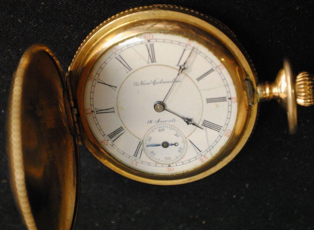439: 14K Gold NEW COLUMBUS pocket watch