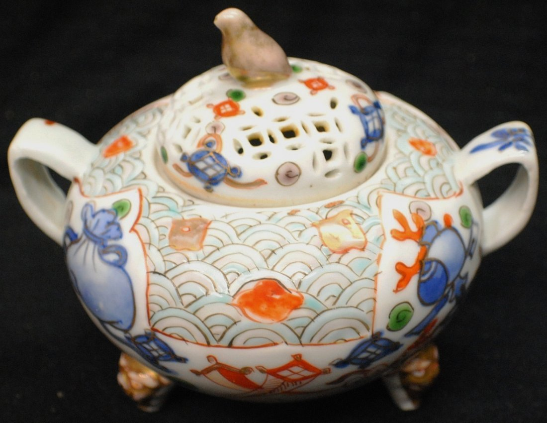 3: Chinese Sugar Bowl with reticulated lid