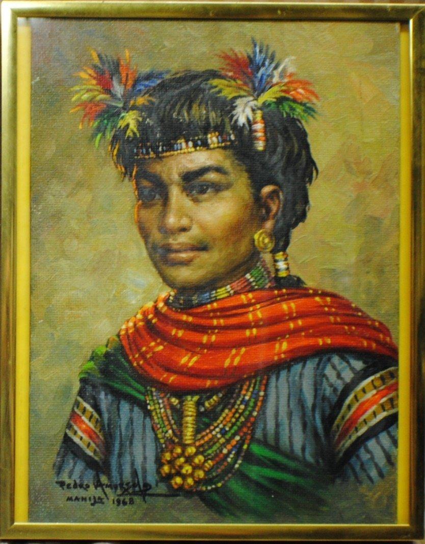 "9: Pedro Amorsolo (Philippines, b. 1926) ""Portrait of N"