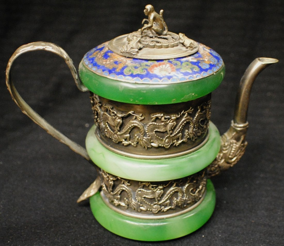 12: Miniature teapot with jade, cloisonné and silver or