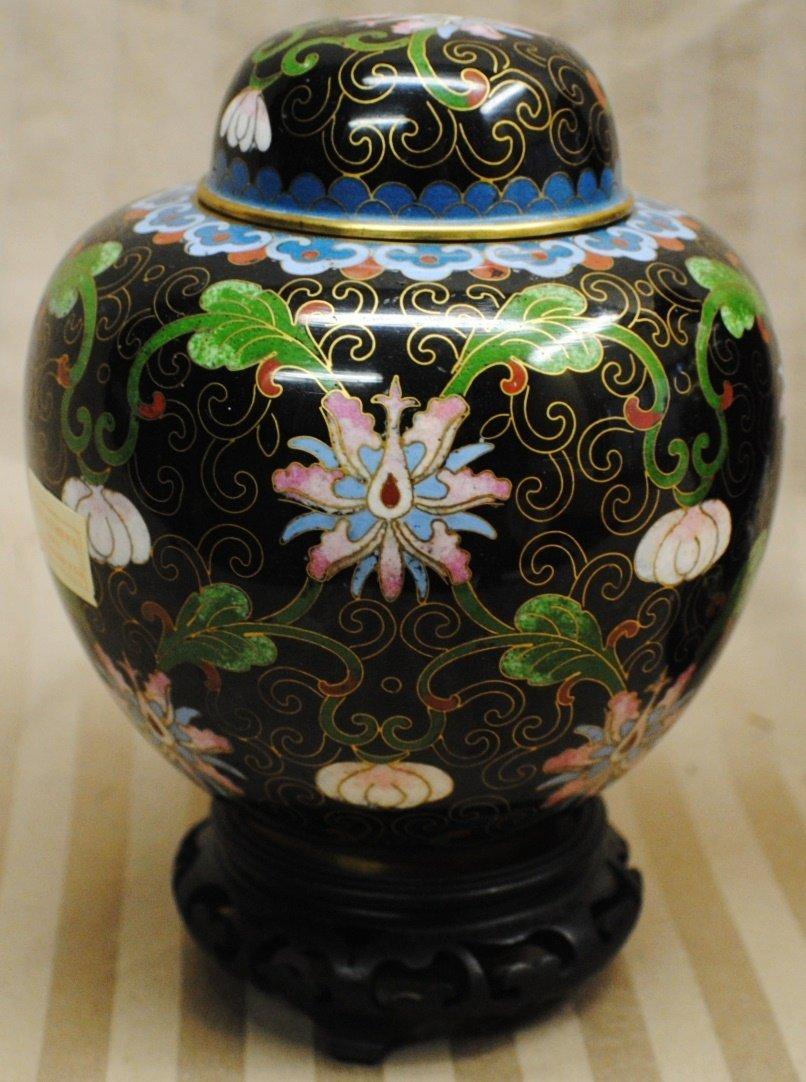 22: Cloisonné ginger jar with lid