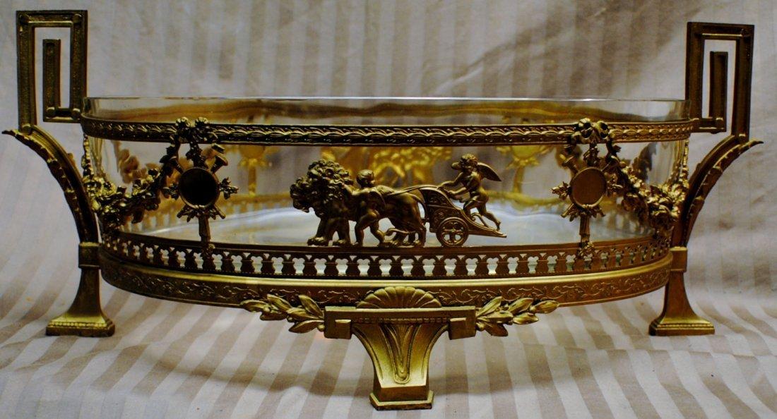 302: Bronze and glass centerpiece bowl