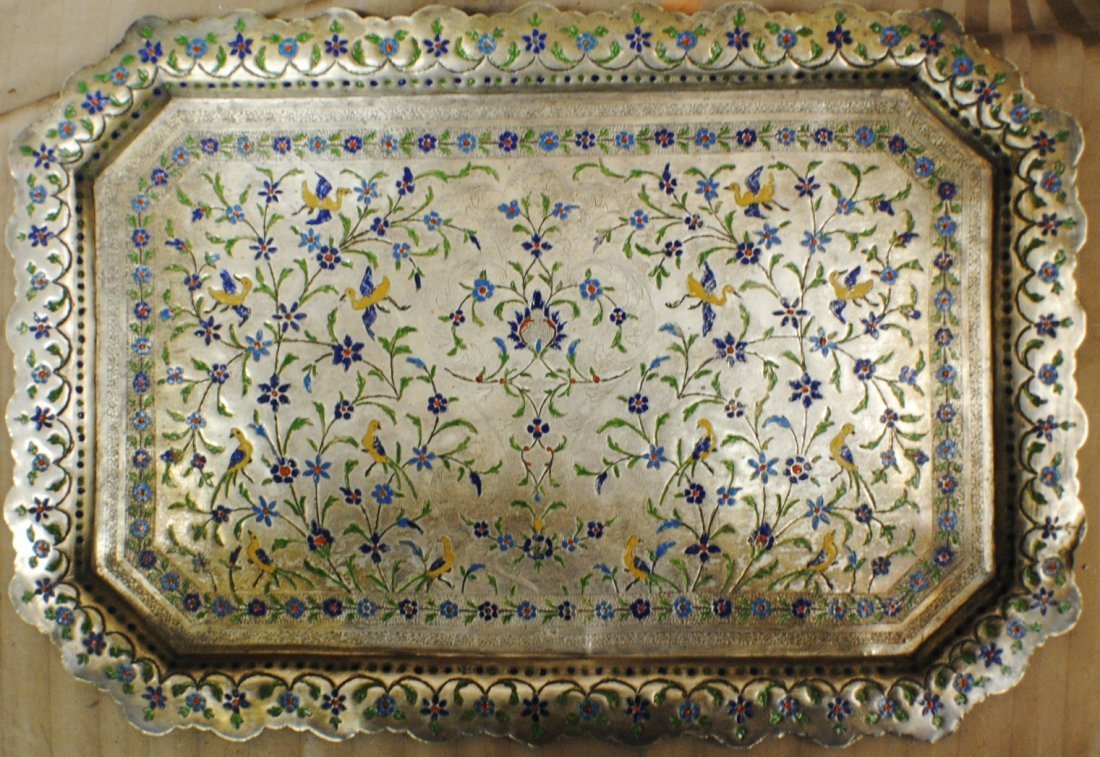 Arabic Middle East silver and enamel tray