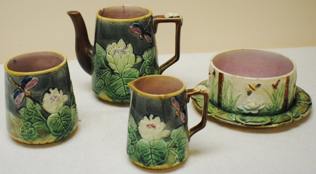 19th century 4 pcs. Majolica set