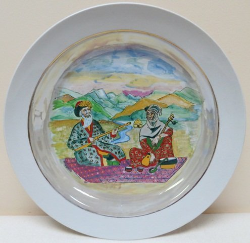 Kazakhstan hand painted folk art charger