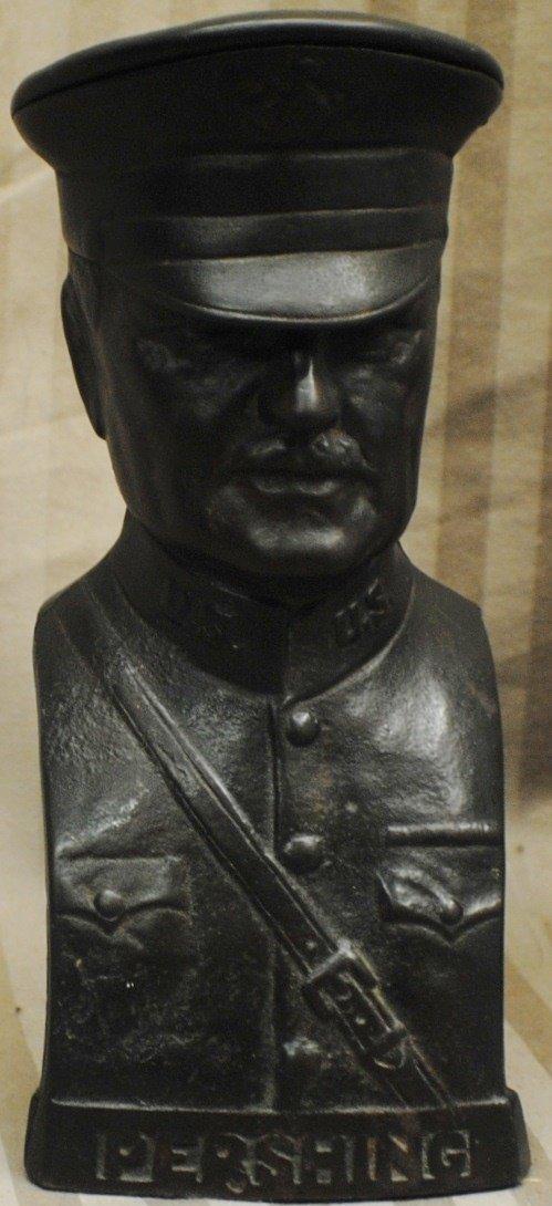 1918 General Pershing cast metal bank