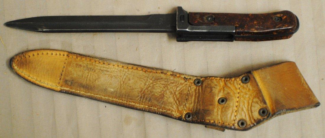 Czechoslovakian 1960s SKS, AK47 bayonet in leather shea