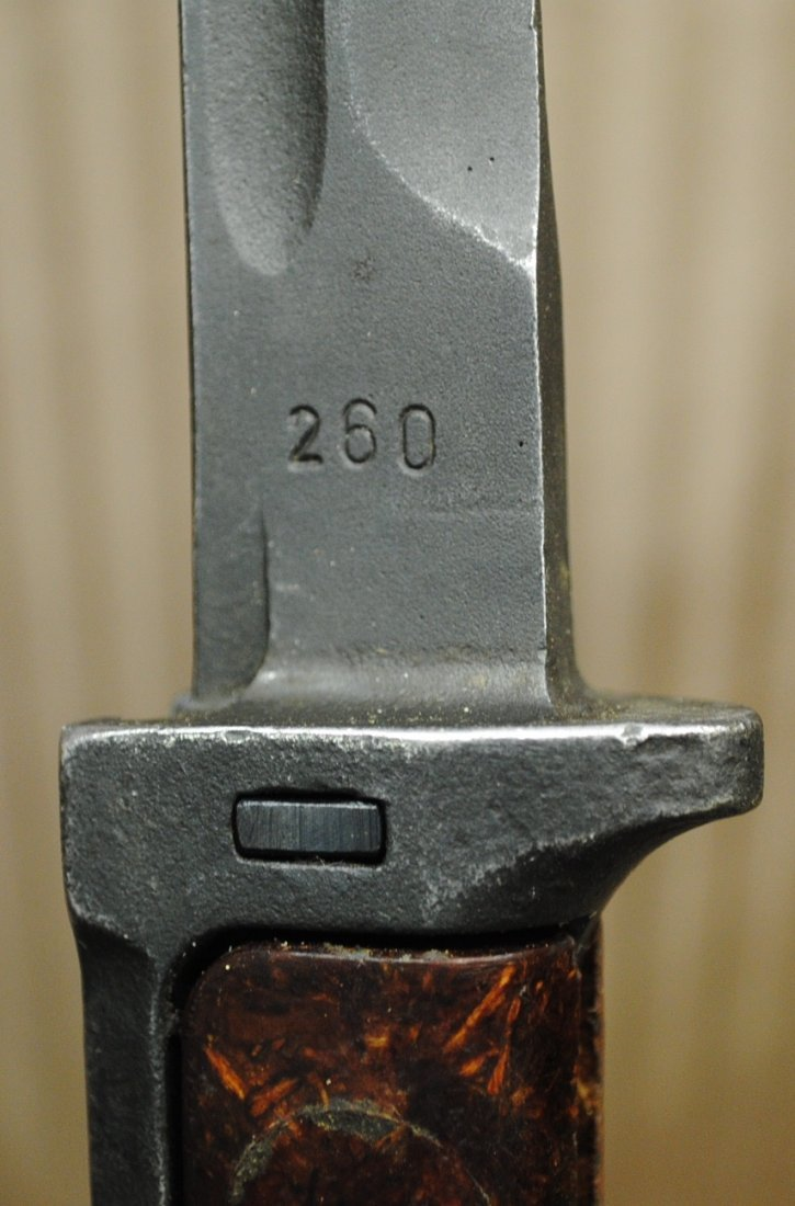 Czechoslovakian 1960s SKS, AK47 bayonet in leather shea - 5