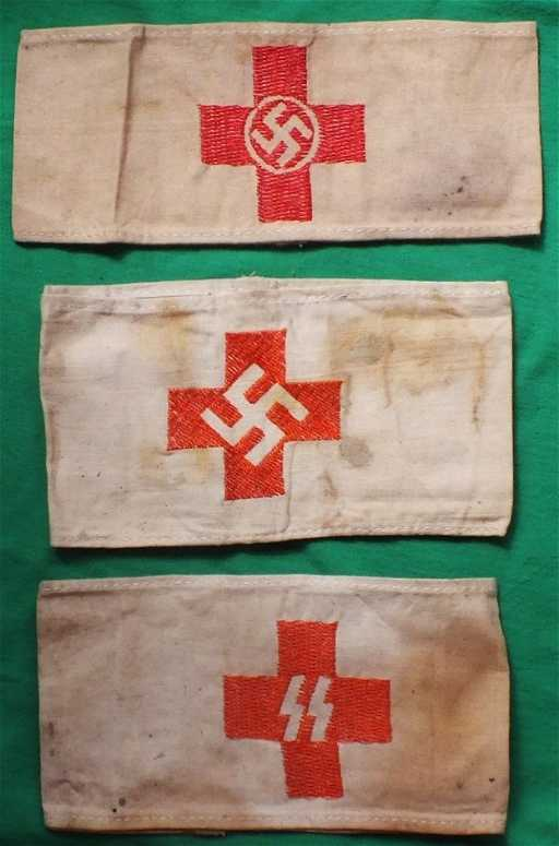 Wwii German Nazi Red Cross Set Of 3 Armbands