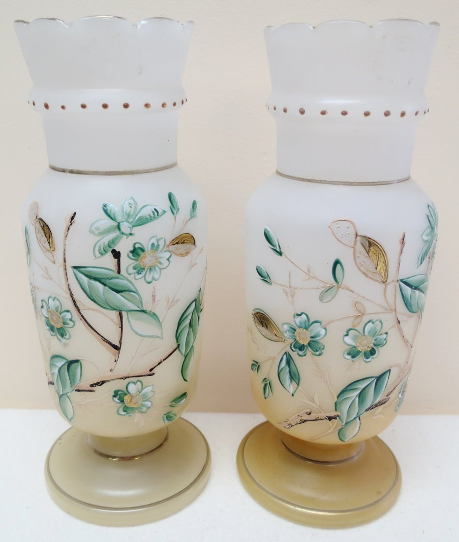 Pair of Victorian hand painted glass vases