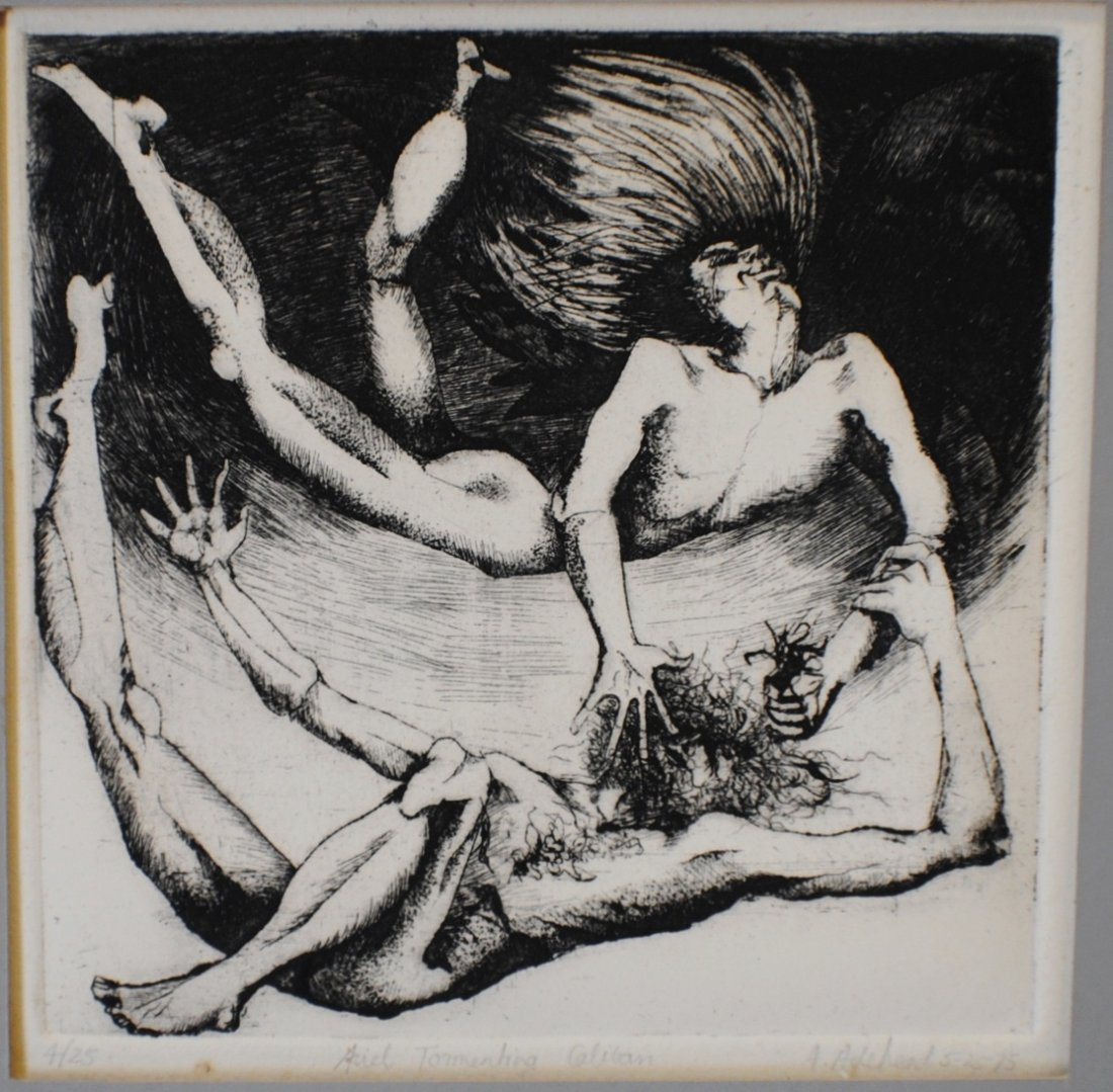 1975 Amy Adshead Etching, ARIEL series