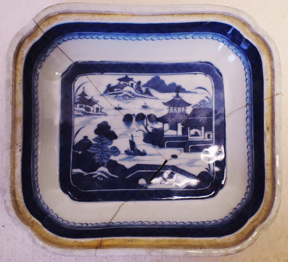 Chinese Canton Blue and White Bowl