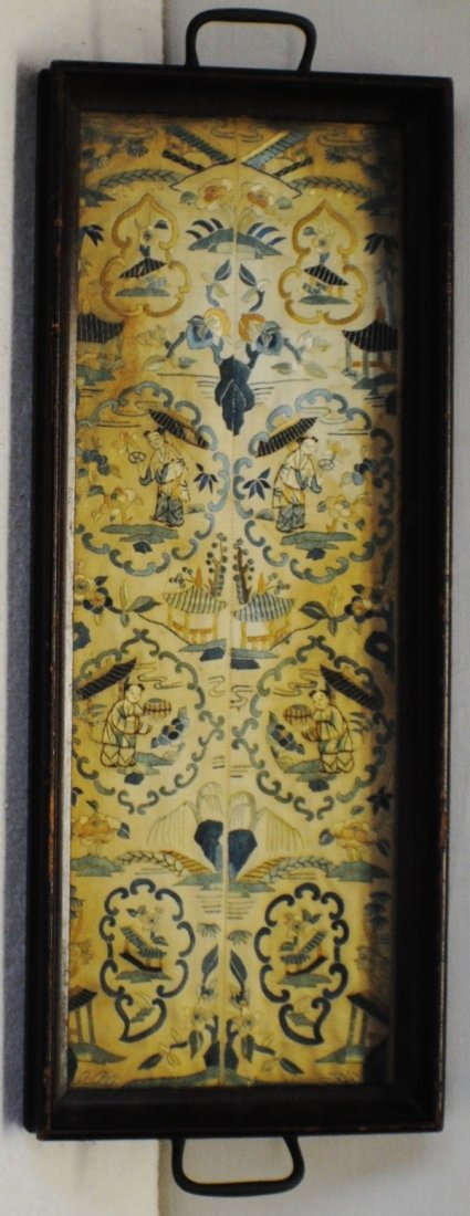 Wooden tray with Early Chinese needlepoint