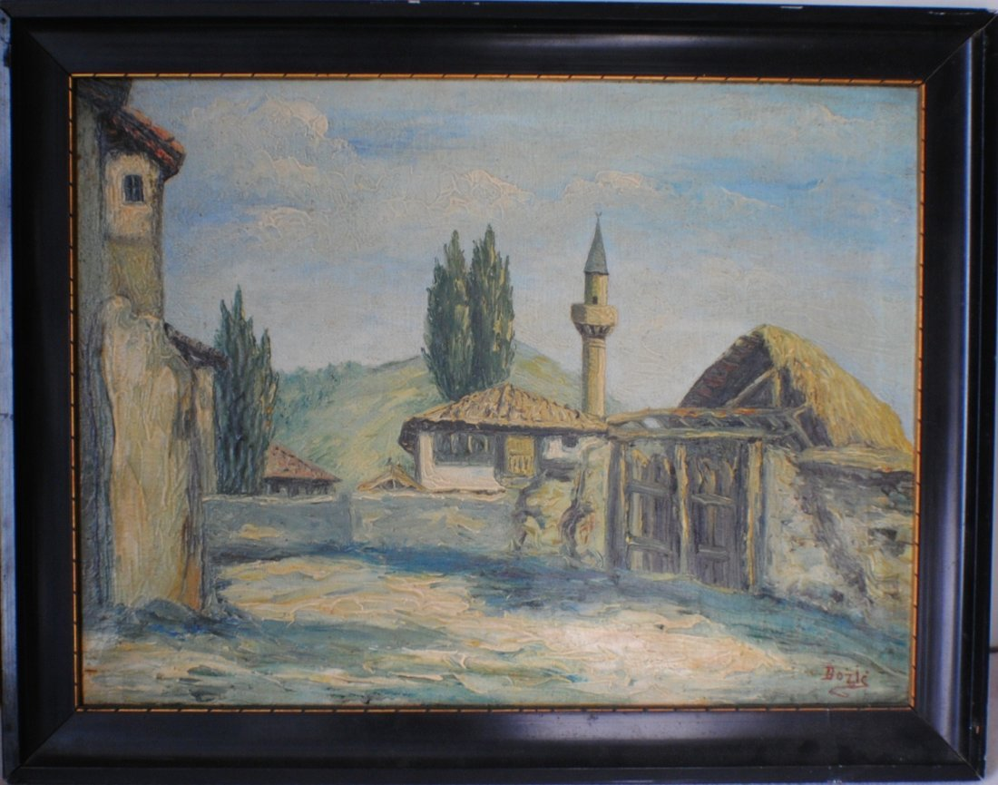 """Old mosque in Macedonia village"". Signed Bozic"