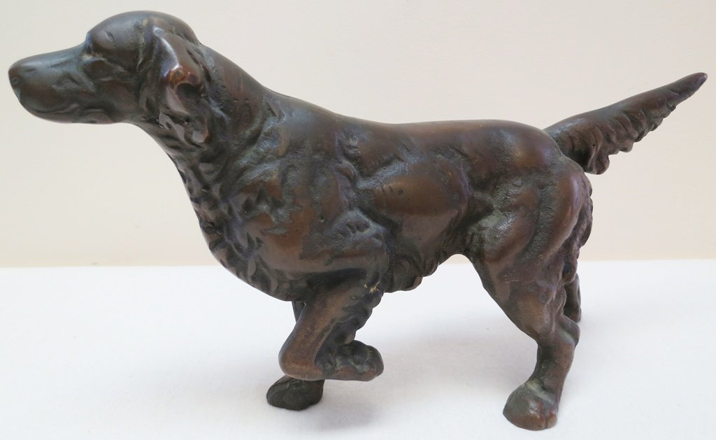 Bronze dog doorstop