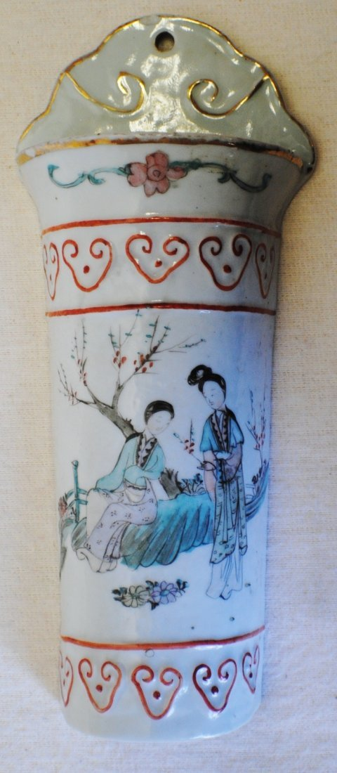 Chinese hand painted porcelain wall pocket