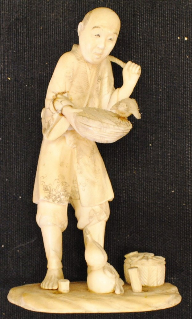 Meiji period Japanese ox-bone figurine