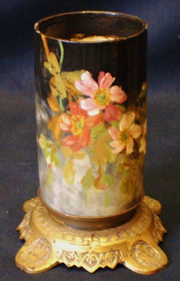 Majolica style vase on bronze stand