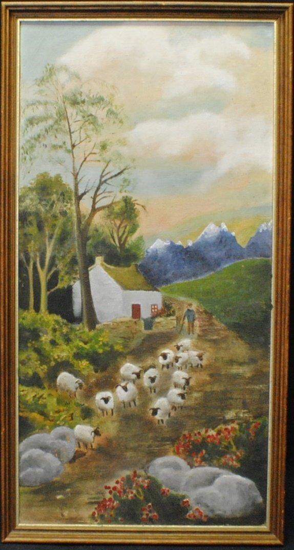 """Shepherd and sheep"" American folk art painting"