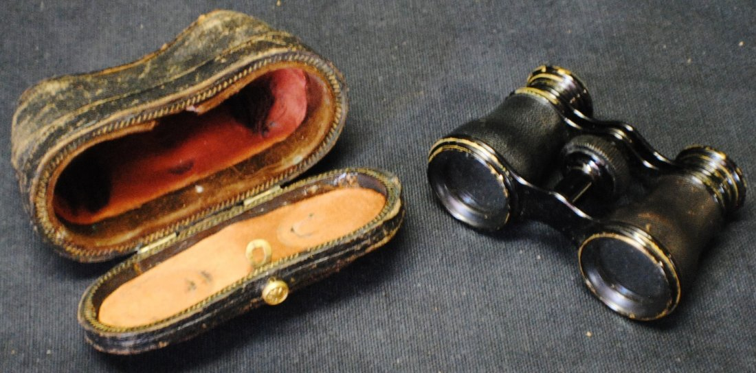 Opera glasses with case