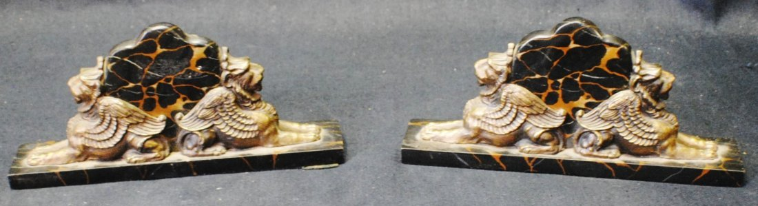"""Bronze and stone """"Lion"""" bookends"""