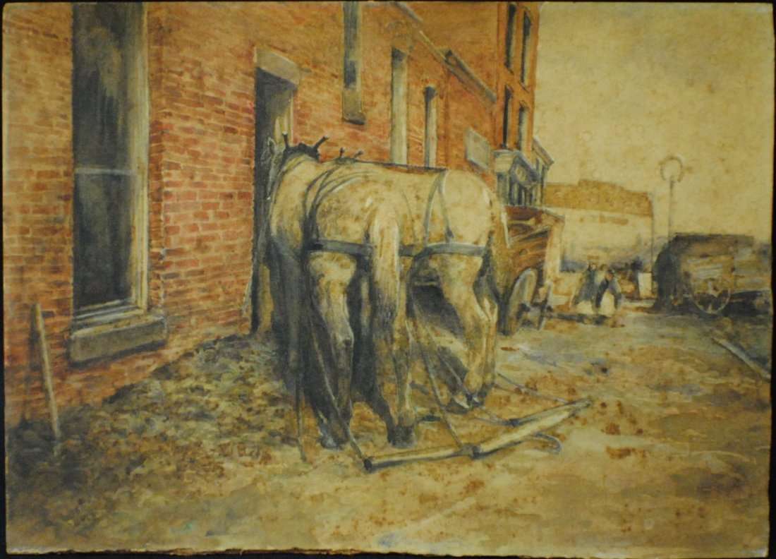 """1800's Watercolor  """"After a Hard Day"""""""