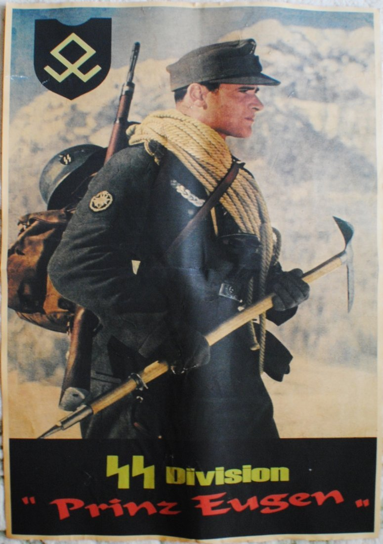 """WWII German Nazi """"SS Division Prinz Eugen"""" poster"""