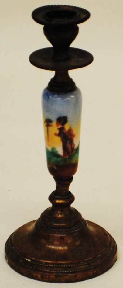 Early brass and porcelain candlestick