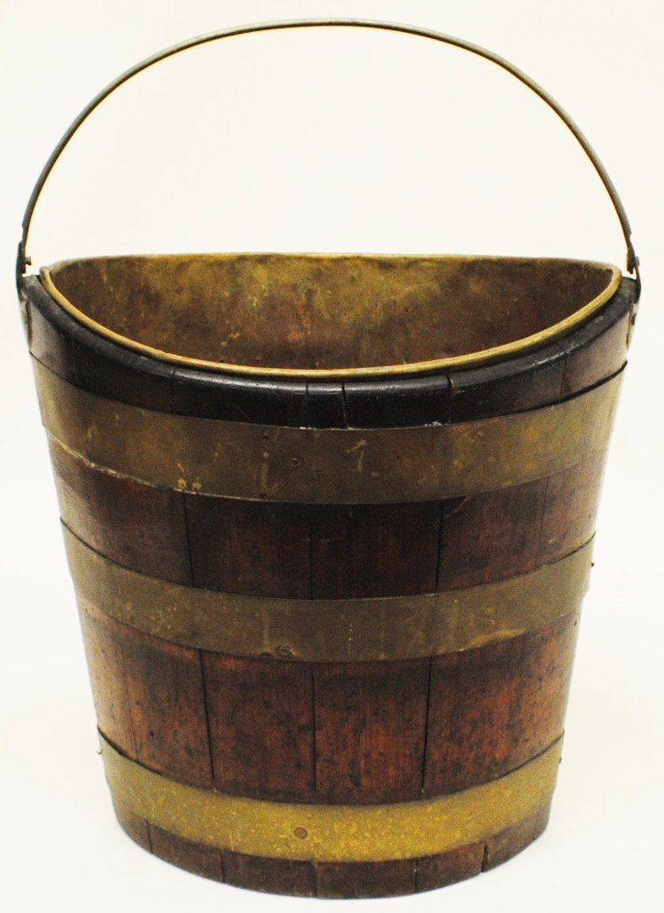 Wood and brass bucket