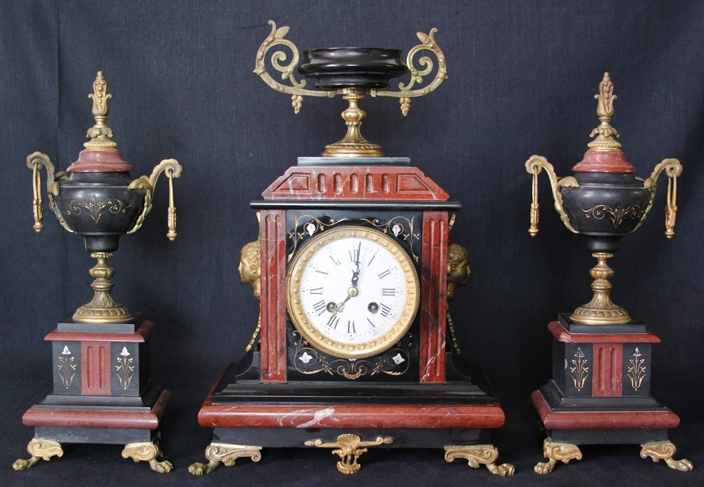 French Japy Freres 3 Pc Clock Set