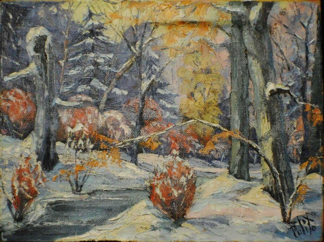 Connecticut watercolor artists directory - Francis Pulito Mid 1900 S Connecticut Artist Winter