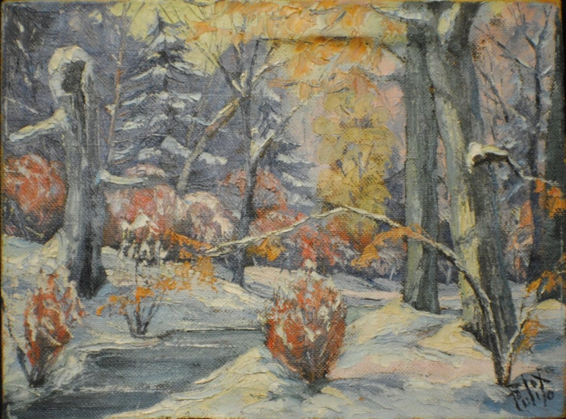 "Francis Pulito (Mid 1900's, Connecticut artist) ""Winter - 2"