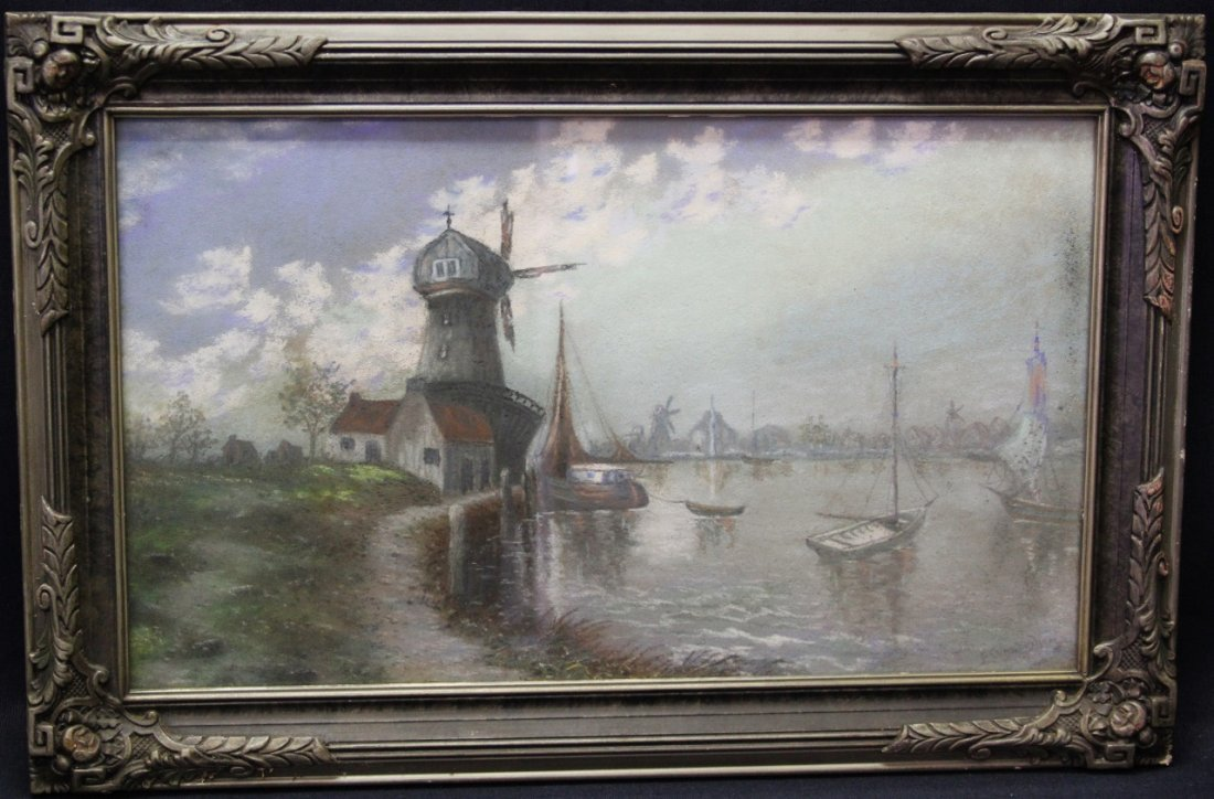 """Wharf With Old Mill"" European pastel"