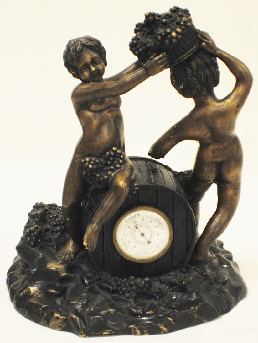 "French bronze sculpture ""Harvesting Grape"" with thermom"