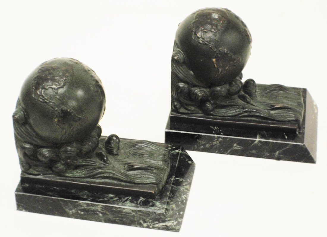 Globe bronze bookends on marble bases