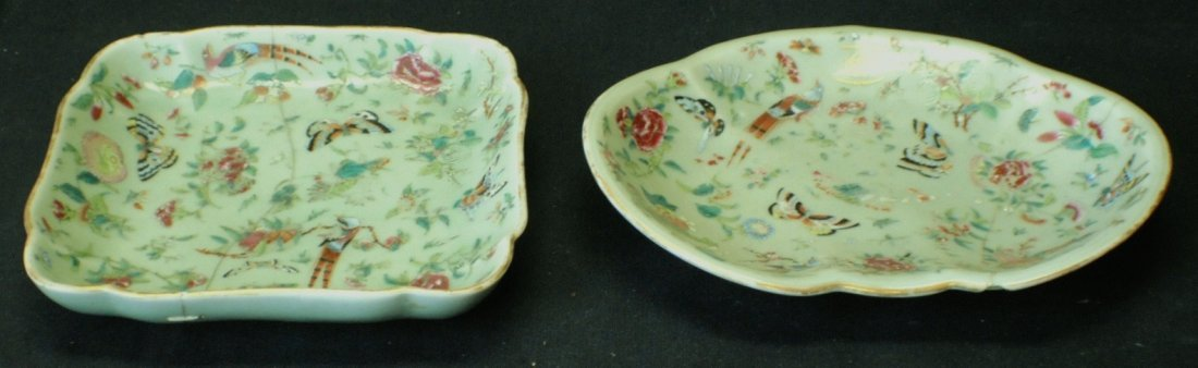 Pair of Chinese Export Celadon chargers with butterflie