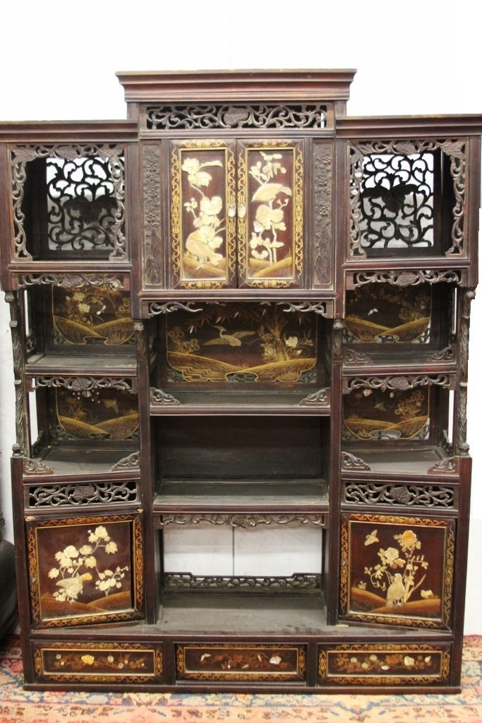 Chinese carved and inlaid curio cabinet