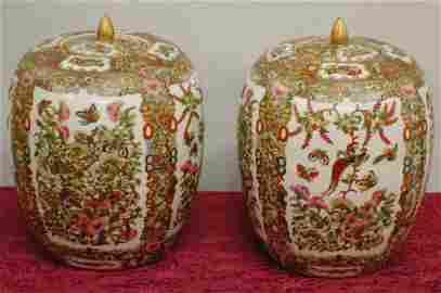 Pair of Chinese large ginger jars