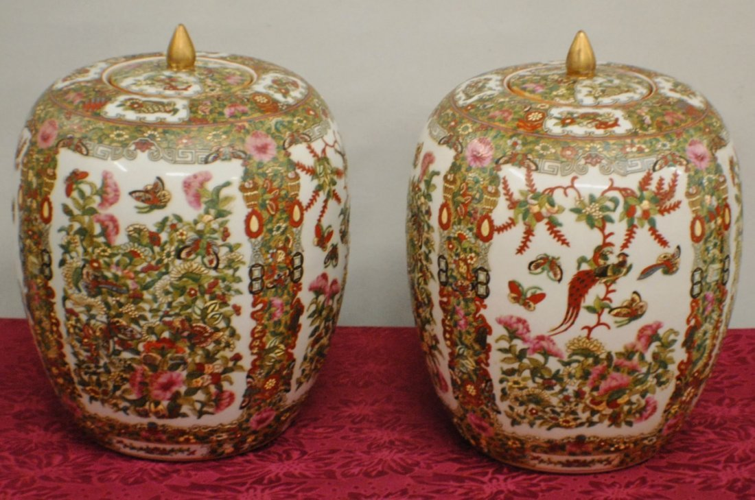 Pair of Chinese large ginger jars