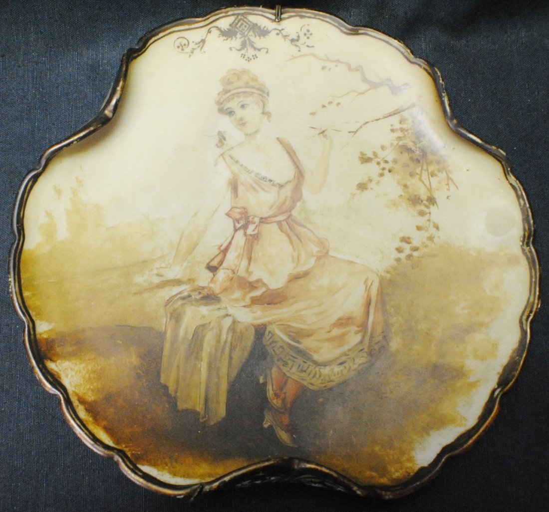Hand painted figural wall plate