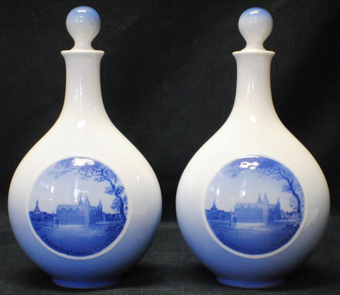 Pair of Royal Copenhagen porcelain bottles