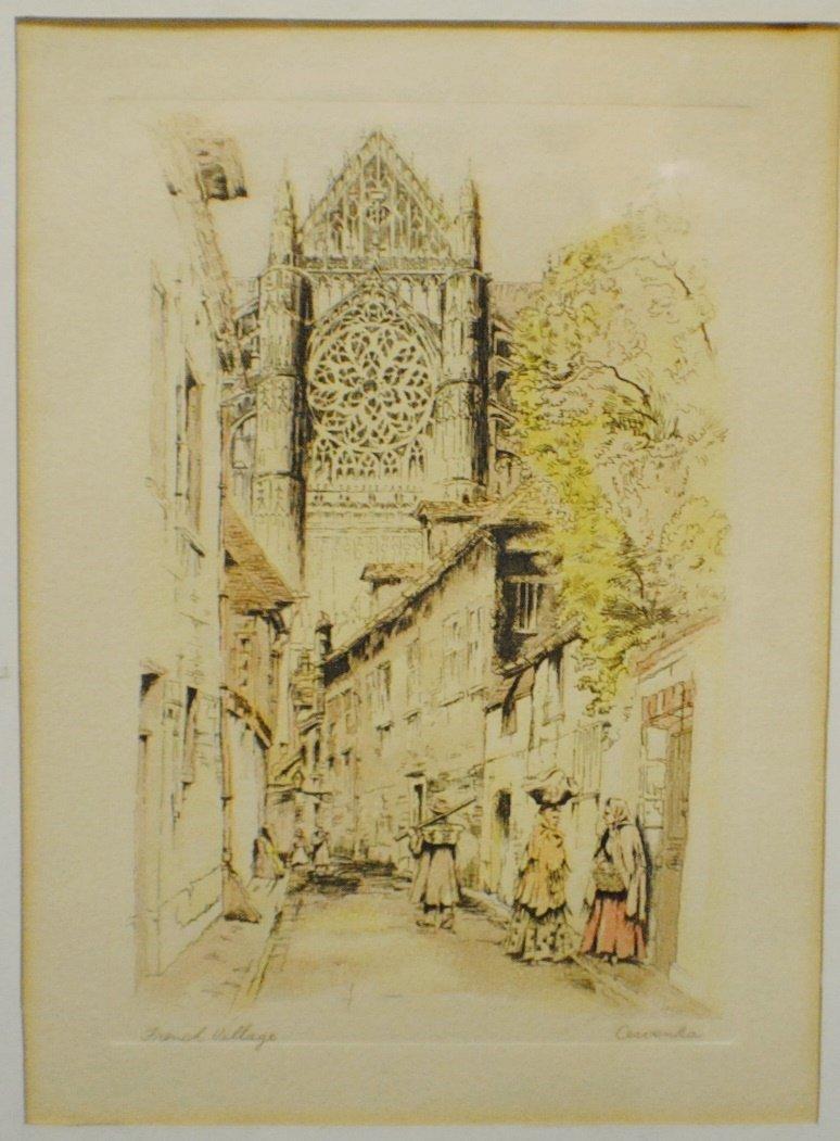 "R. Cervenka ""French Village"" etching"