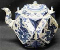 Large Chinese Cubist style tea pot