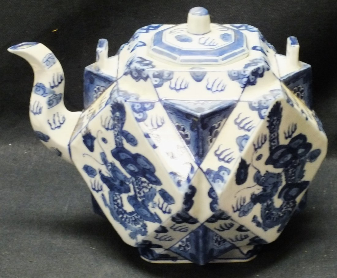 Large Chinese Cubist style tea pot