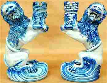 Pair of Galle Nancy St. Clement Faience Candleholders