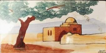 """Judaica: Bezalel 1920's  """"The Rachel's Tomb"""" tile"""