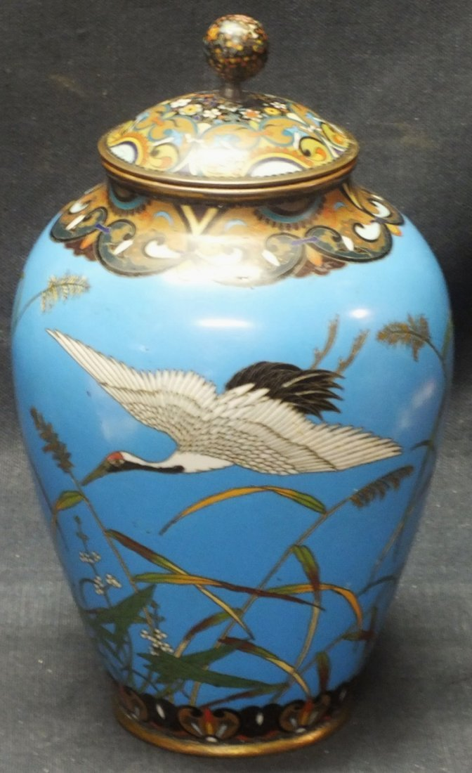Japanese Meiji period Cloisonne jar with lid