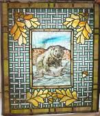 Lead glass window with bear hunting scene