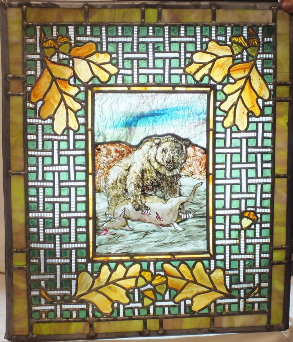 Lead glass window with bear hunting scene